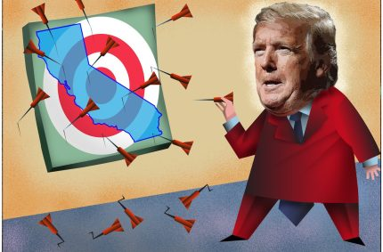 President Donald Trump, in his 2020 reelection bid, often seems to be campaigning against California — evoking it as a Democratic dystopia. Illustration by Dan Hubig for CalMatters
