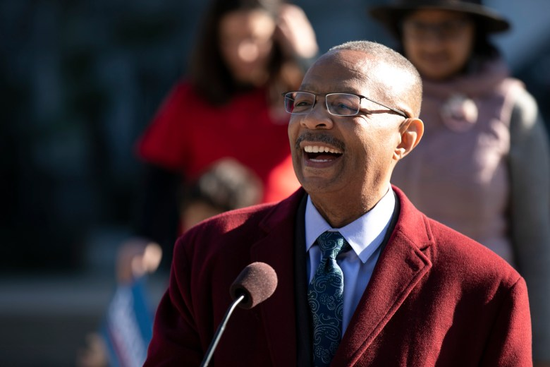 Assemblymember Reggie Jones-Sawyer speaks of the importance of voting in California during a Bernie Sanders 2020 Campaign event in Sacramento on February 6, 2020