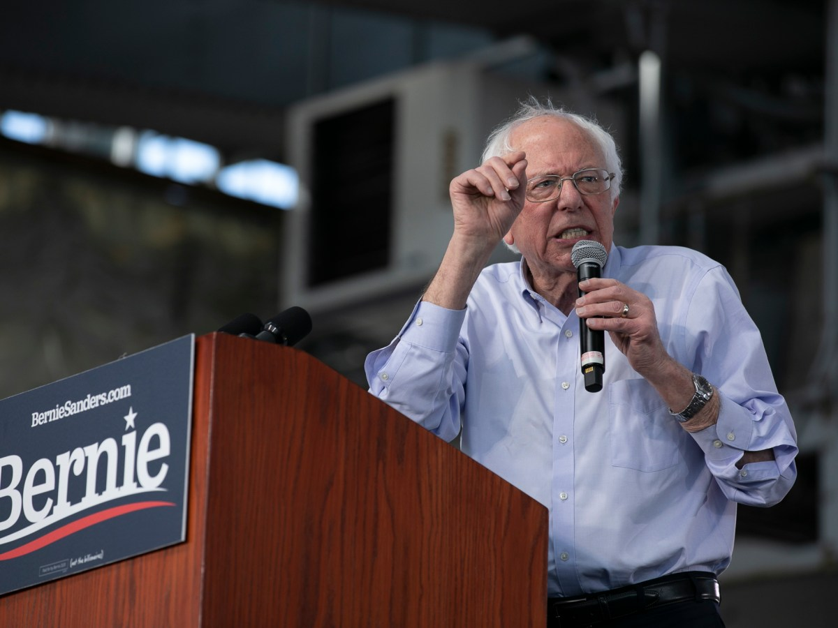 Sen. Bernie Sanders at a campaign rally at Craneway Pavilion in Richmond, CA, on February 17, 2020. Photo by Anne Wernikoff for CalMatters