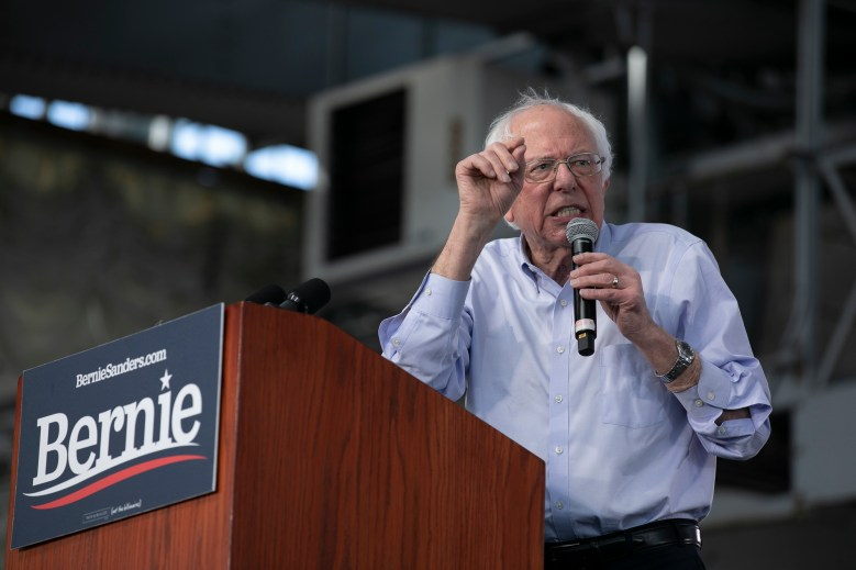 Sen. Bernie Sanders at a campaign rally at Craneway Pavilion in Richmond, CA on February 17, 2020. Photo by Anne Wernikoff for CalMatters
