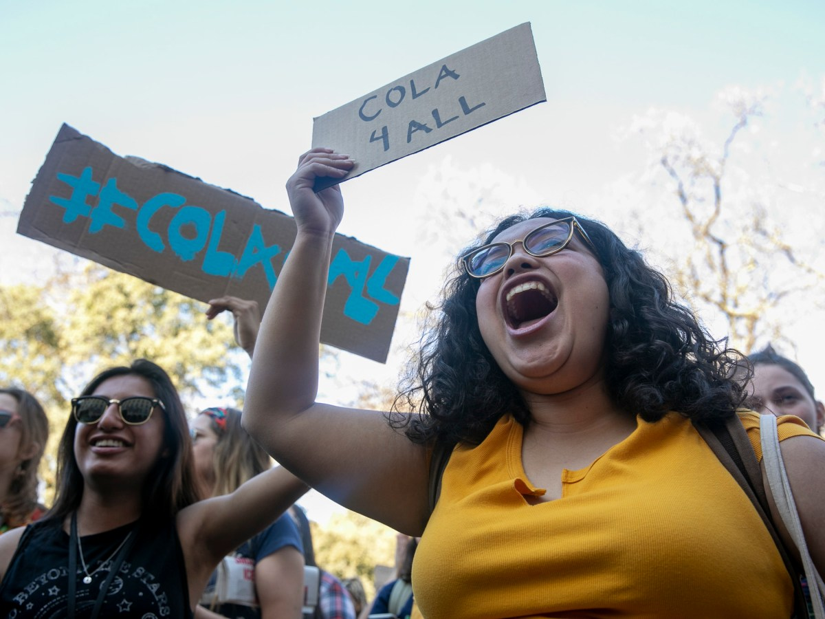 More than 500 students gathered at UC Davis to make demands of the administration and stand in solidarity with striking graduate student workers at UC Santa Cruz on February 21, 2020. The demonstration was one of many across UC campuses this week. Photo by Anne Wernikoff for CalMatters