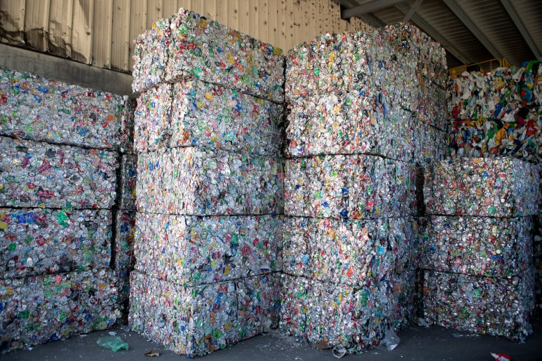 Stacks of compressed aluminum awaiting transport at greenwaste recovery facility on July 29, 2019