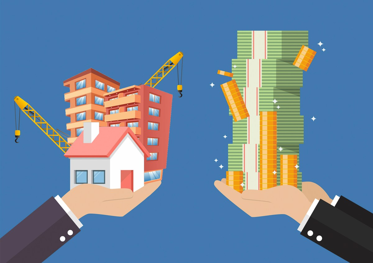 Illustration of hands exchanging a stack of money for housing development