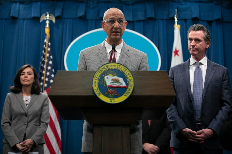 California Health and Human Services Agency Secretary Dr. Mark Ghaly speaks at a press conference in the California State Capitol following the first COVID-19 death in California. Photo by Anne Wernikoff for CalMatters