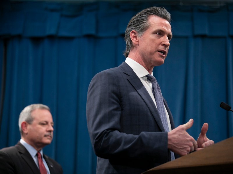 Gov. Gavin Newsom holds a press conference in the wake of the first COVID-19 death in California, a man who took a cruise from San Francisco to Mexico in February. The governor outlined measures being taken by the state to identify and test all other individuals who were on the same cruise ship as the deceased. Photo by Anne Wernikoff for CalMatters