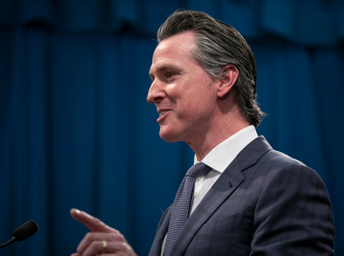 Gov. Gavin Newsom at a press conference in the state capitol following the first COVID-19 death in California. Photo by Anne Wernikoff for CalMatters