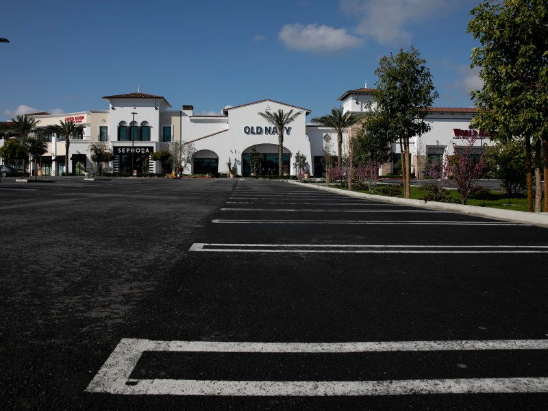 An empty parking lot in front of TJ Maxx at The Veranda shopping center in Concord on March 19, 2020. One third of the centers businesses have been forced to close temporarily due to the shelter in place order in Contra Costa and surrounding counties. Photo by Anne Wernikoff for CalMatters