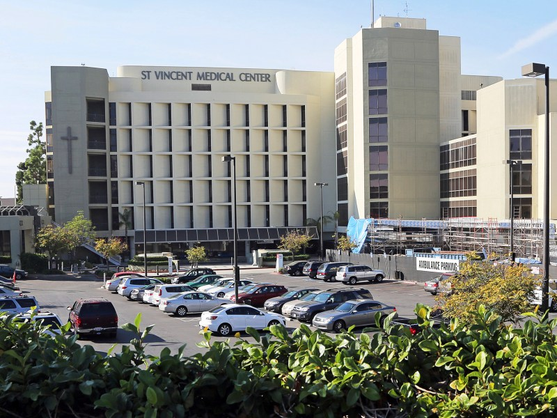 This Oct. 11, 2014 file photo shows St. Vincent Medical Center near downtown Los Angeles.