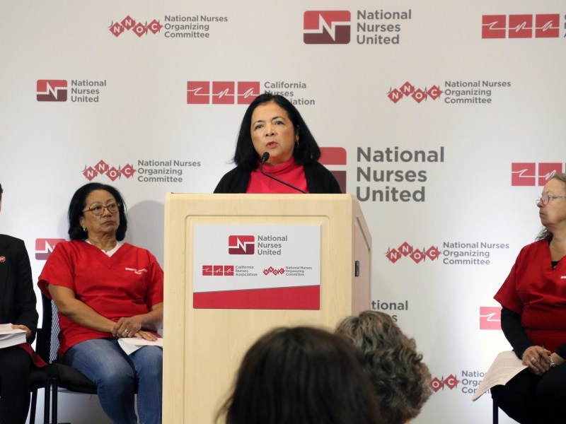 Bonnie Castillo, registered nurse and executive director of National Nurses United and the California Nurses Association, speaks during a press conference presenting the findings from a national survey on Coronavirus preparedness on March 5, 2020