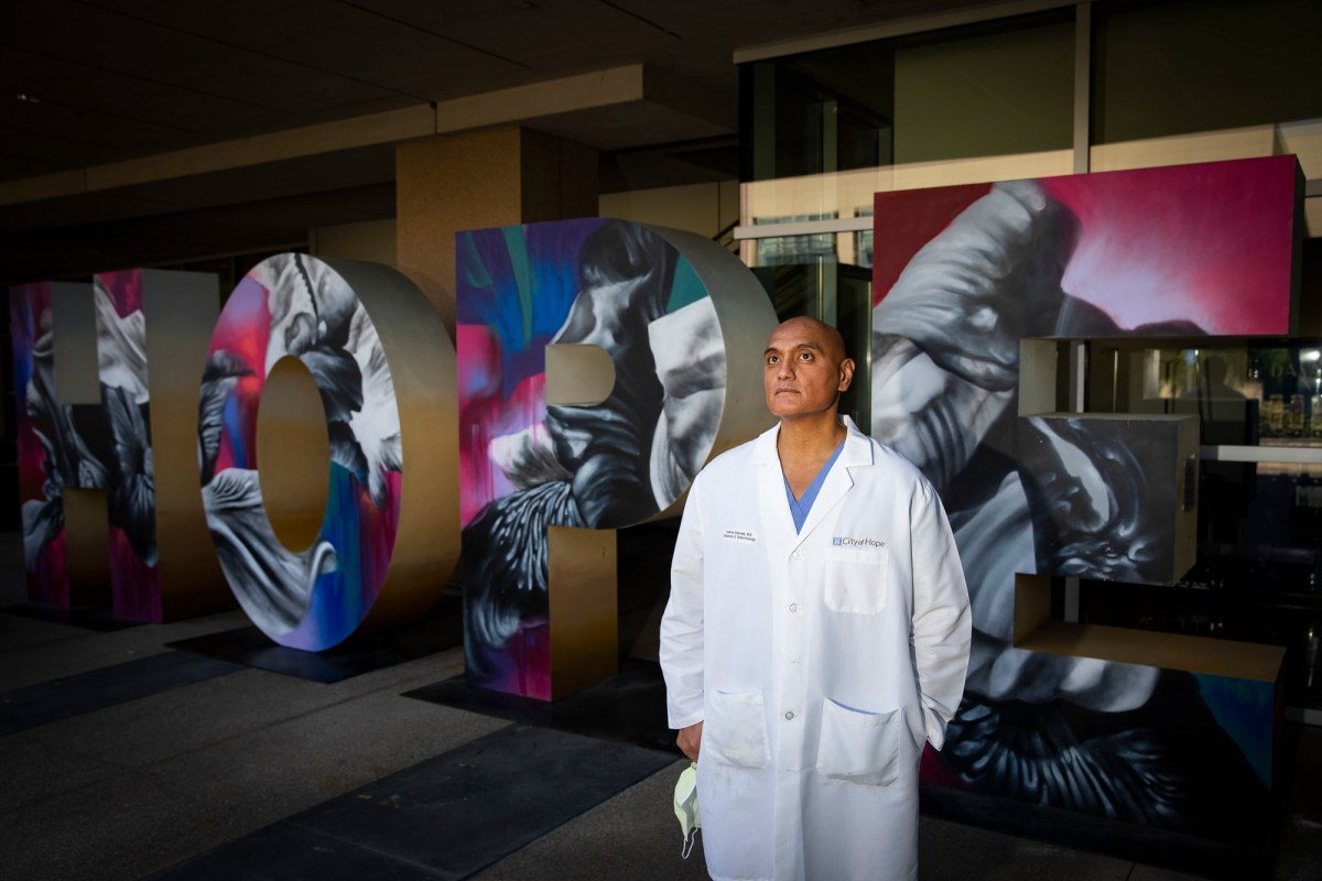 Endocrinologist Dr. Ray Samoa at the City of Hope Comprehensive Cancer Center in Duarte on April 25, 2020. Samoa, who tested positive for the novel coronavirus, just recently returned to his family home after being in an extended quarantine. Photo by Nancy Pastor for CalMatters