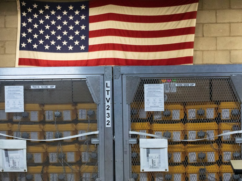Cages of ventilators, part of a shipment of 400, are displayed, Tuesday, March 24, 2020 at the New York City Emergency Management Warehouse where they will be distributed. Photo by Mark Lennihan, AP Photo