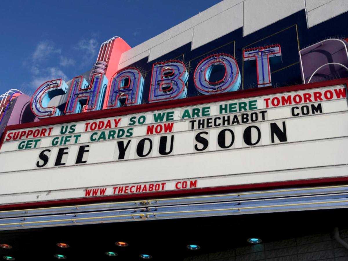A hopeful message is seen on the marquee of the The Chabot theatre on Castro Valley Boulevard day nine of the coronavirus stay-at-home order in Castro Valley, Calif., on March 26, 2020. Photo by Jane Tyska, Bay Area News Group