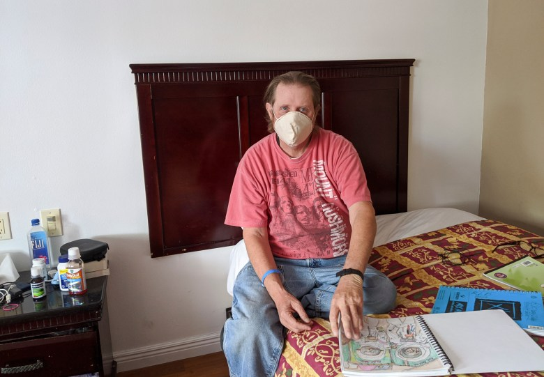 Richard Dobbs in his Sacramento motel room. Photo courtesy of Ginny Bayly, loaves and fishes