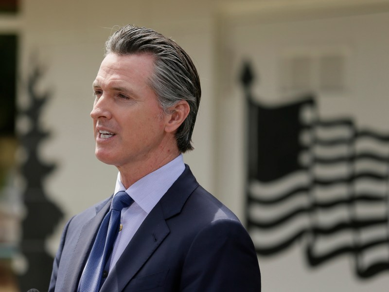 Gov. Gavin Newsom speaks during a news conference at the Veterans Home of California Friday, May 22, 2020, in Yountville. Photo by Eric Risberg, AP Photo/Pool