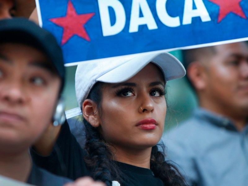 DACA recipient Flor Martinez attends a rally following President Trump's rescinding of the program in 2017. Today the U.S. Supreme Court ruled he could not halt the program, affects nearly 200,000 California 'Dreamers.' Photo by Karl Mondon/Bay Area News Group