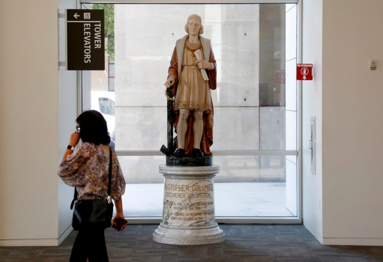 A statue of explorer, Christopher Columbus, stands in the lobby of San Jose City Hall in San on Aug. 23, 2017. The controversial statue was removed from the building on 2018 following a petition by the San Jose Brown Berets. Photo by Patrick Tehan/Bay Area News Group