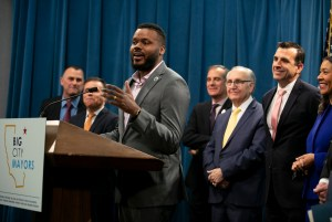 Stockton Mayor Michael Tubbs speaks during a press conference by Big City Mayors, a coalition of mayors from California's 13 largest cities focused on finding solutions to homelessness, at the California Capitol on March 9, 2020. Tubbs has launched a universal basic income initiative, Mayors for Guaranteed Income, following the success of a similar program in Stockton. Photo by Anne Wernikoff for CalMatters