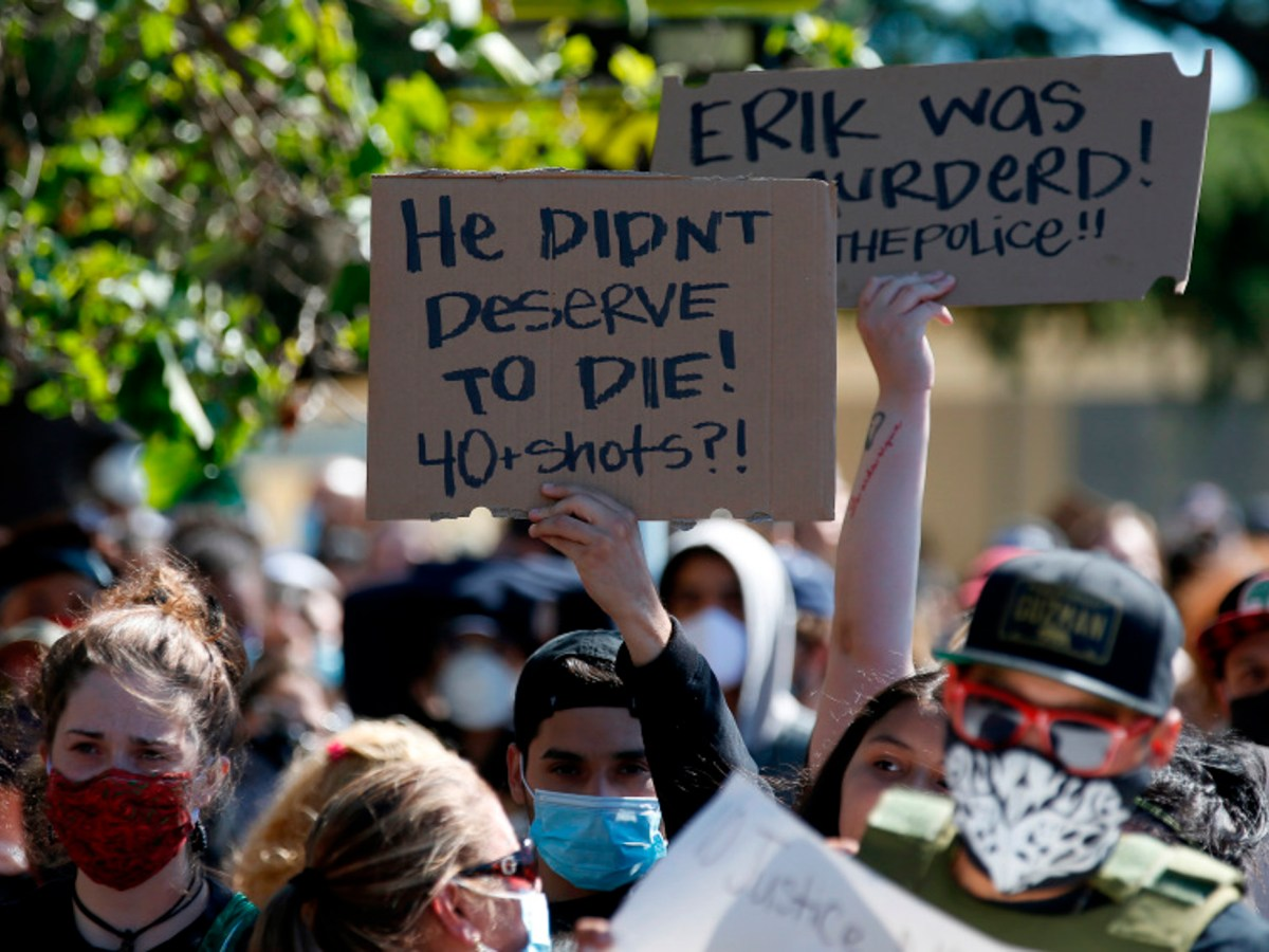Protesters march along 98th Avenue in support of Erik Salgado in Oakland on June 8, 2020. Salgado, 23, was shot and killed nearby by California Highway Patrol (CHP) officers and his pregnant girlfriend was wounded on June 6. Photo by Jane Tyska, Bay Area News Group