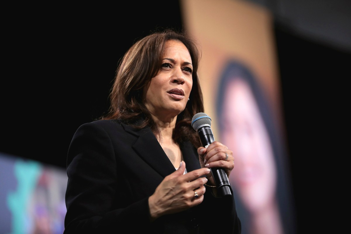 U.S. Senator Kamala Harris speaking with attendees at the 2019 National Forum on Wages and Working People hosted by the Center for the American Progress Action Fund and the SEIU at the Enclave in Las Vegas, Nevada on April 27, 2019. Photo by Gage Skimore via Flickr