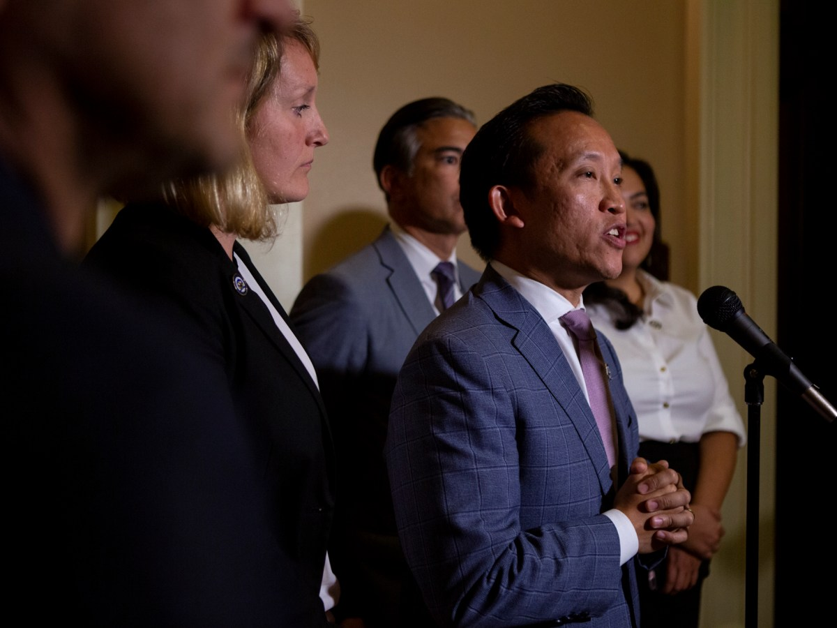 Assemblyman David Chiu speaks to the press following the passage of AB 1482, a bill that would instate a rent cap, on September 11, 2019. Photo by Anne Wernikoff for CalMatters