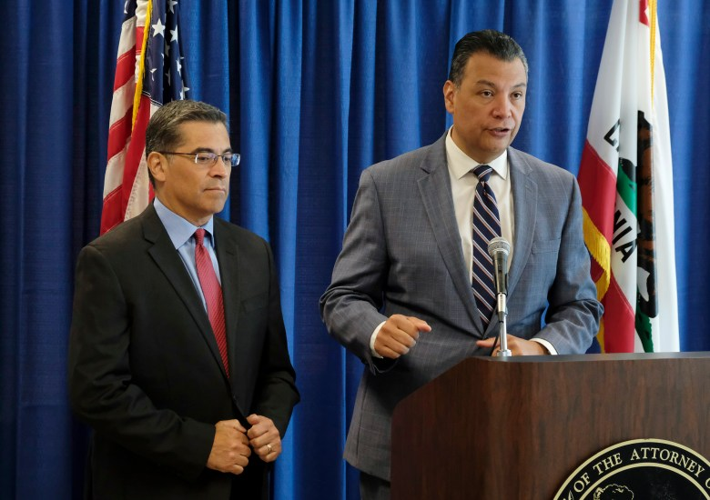 California Secretary of State Alex Padilla, right, and Attorney General Xavier Becerra, are among possible replacements should Kamala Harris win the vice presidency. Photo by Eric Risberg, AP Photo