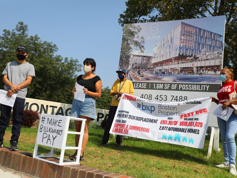 Affordable housing advocates Chris Santana, left, Heidi De La Cruz Velazquez, second from left, Carlos Castaneda, and Maria Ruiz, right, take part in a rally to support a Commercial Linkage Fee on Wednesday, Aug. 26, 2020, in San Jose. The fee would levy a per-square-foot charge on new commercial buildings and would be used to fund affordable housing. Photo by Aric Crabb/Bay Area News Group