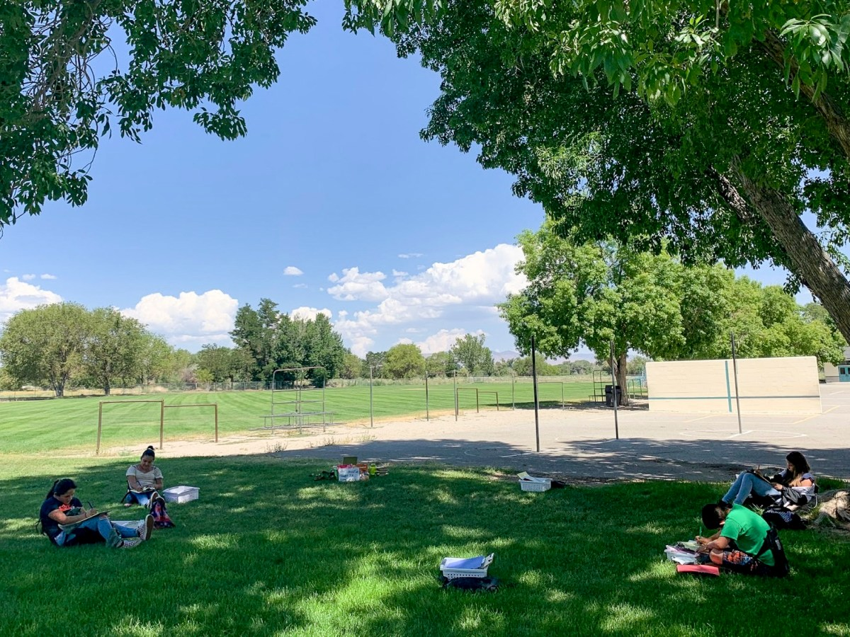 A fifth grade class does classwork outside while social distancing at Bishop Unified in Inyo County over the summer. Photo courtesy of Bishop Unified School District