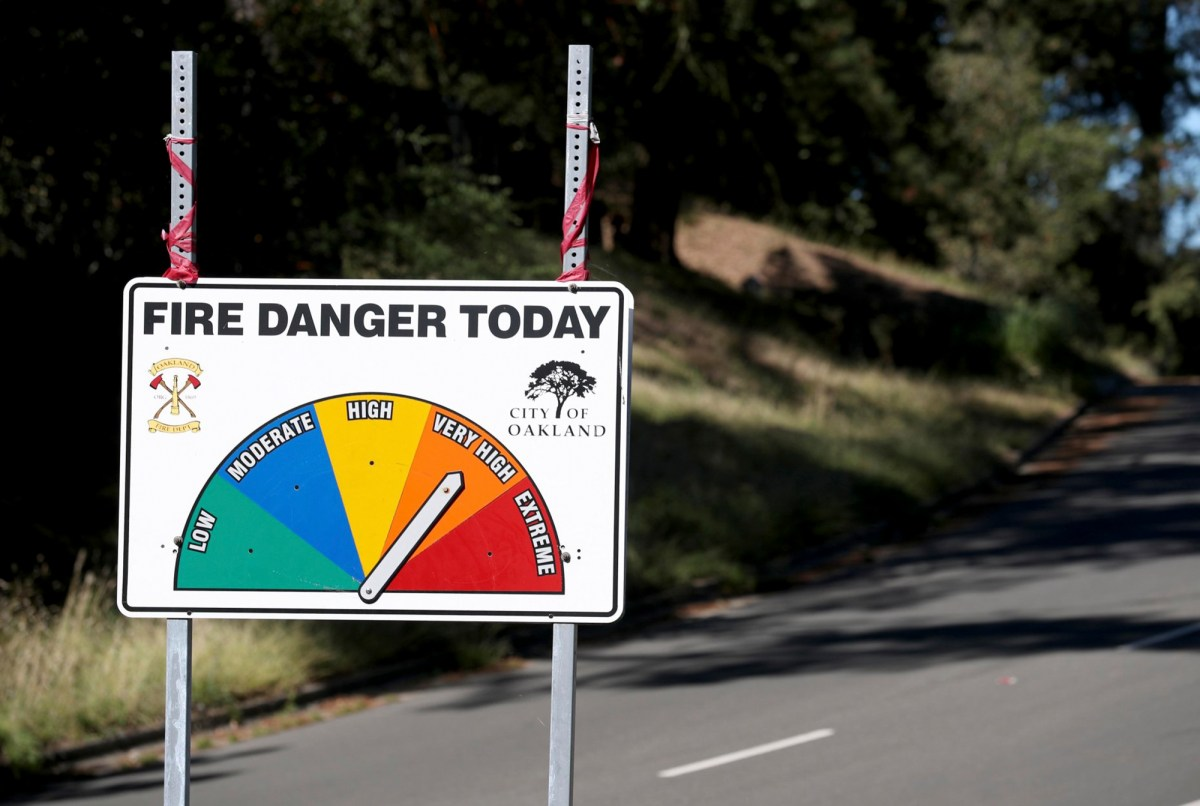 A high fire danger sign is seen along Skyline Boulevard in the hills of Oakland on Sept. 24, 2019. Photo by Jane Tyska, Bay Area News Group