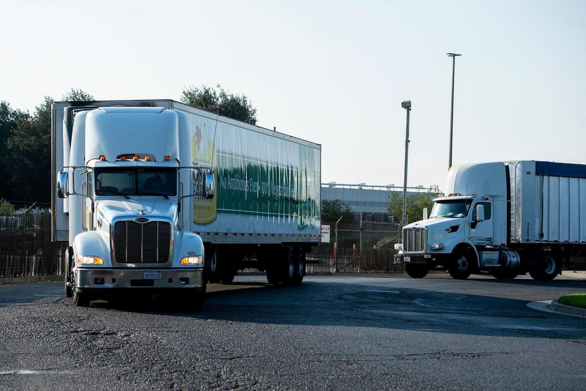 Vehicles including Foster Farms trucks enter and exit the facility located at 1000 Davis Street in Livingston, on Thursday, Aug. 27, 2020. Photo by Andrew Kuhn, The Merced Sun Star