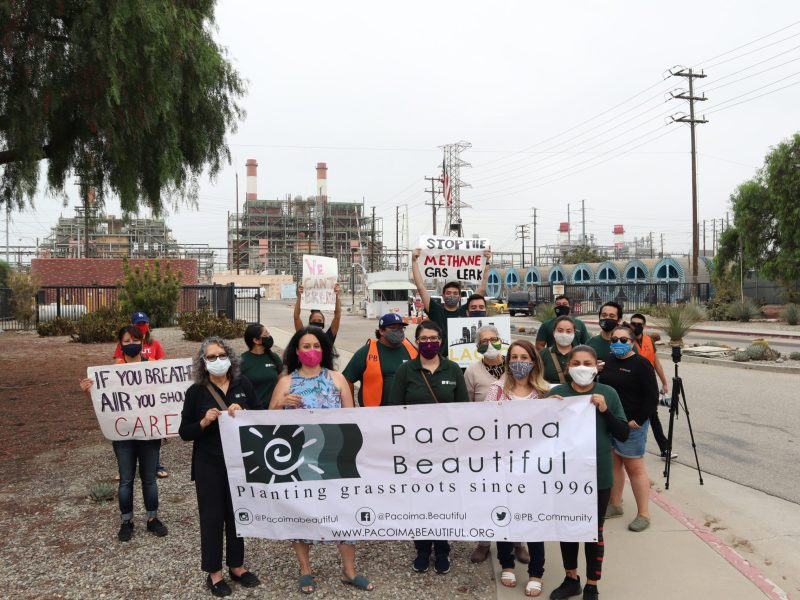 Residents and activists protest outside Sun Valley's LADWP plant . Photo by Andrés Rivera, Pacoima Beautiful