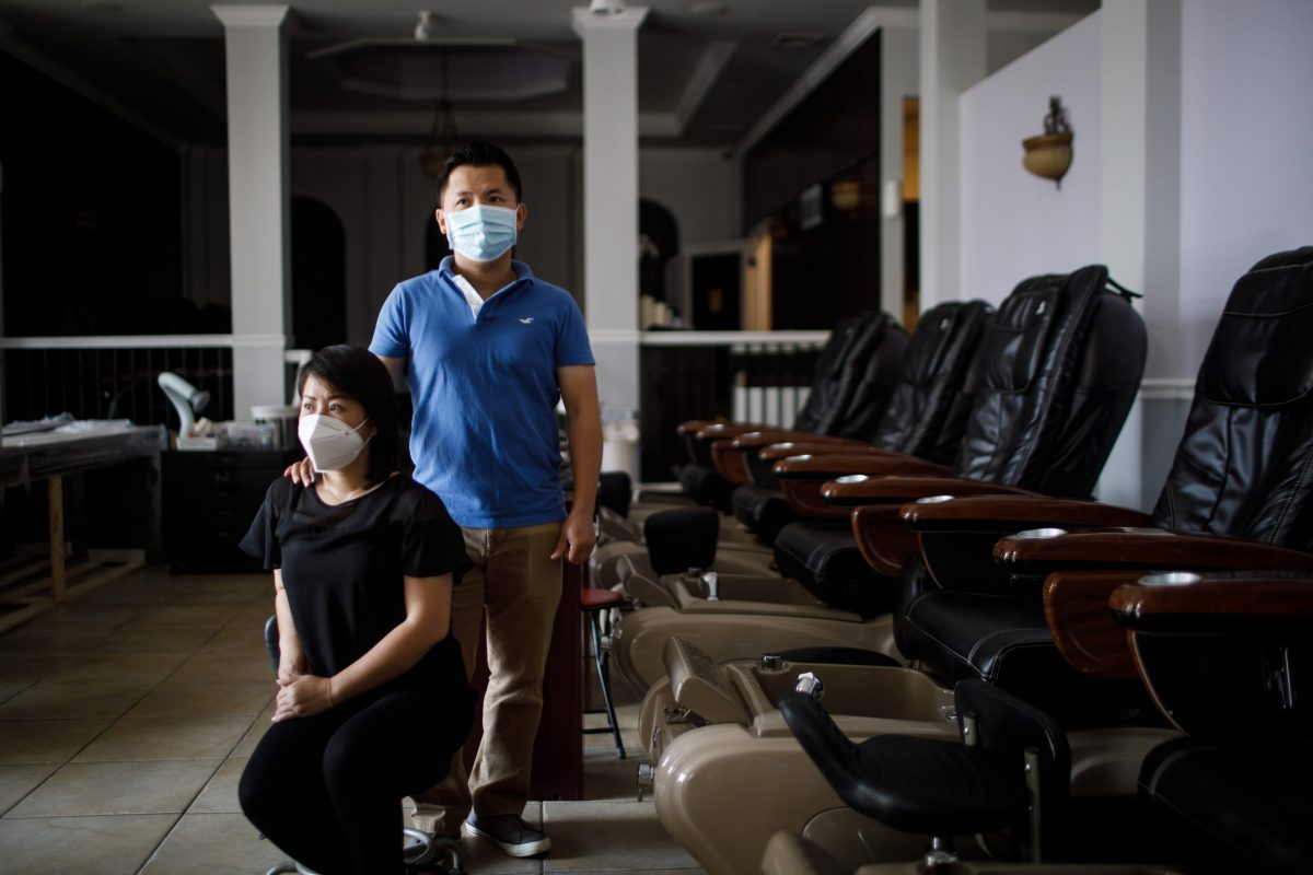Tracy Tran and Steven Tran, owners of La Orquidea Salon and Spa pose for a portrait on Aug. 25, 2020, in Los Gatos. While most of the state's businesses have been able to resume some activity, nail salons have remained largely closed under state and local health orders since the start of the pandemic. Photo by Dai Sugano, Bay Area News Group