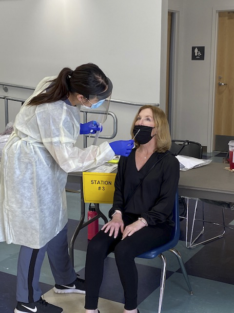 A Solana Beach School District staff member is tested for COVID-19 in preparation for district elementary schools reopening for in-person instruction. Photo courtesy of Solana Beach School District