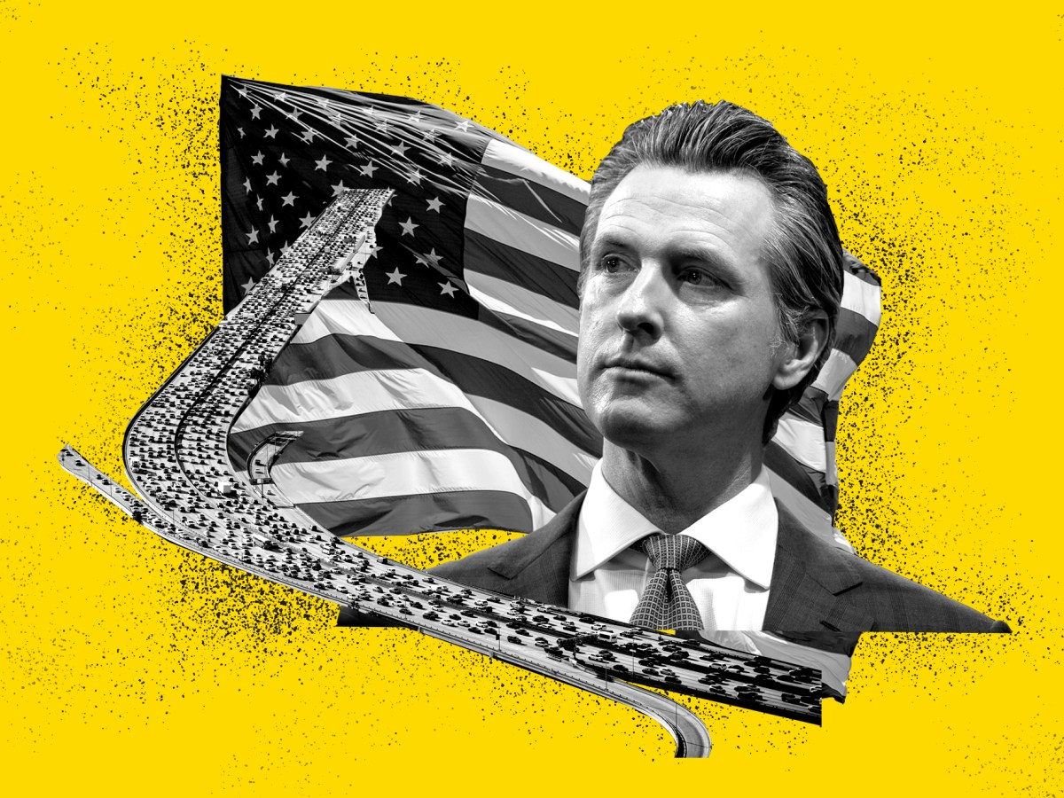 Gov. Gavin Newsom has a history of making bold,risky political moves that affect political decision-making nationwide. Will his order to ban new gas-powered cars by 2035 follow suit? Illustration by Anne Wernikoff for CalMatters; iStock