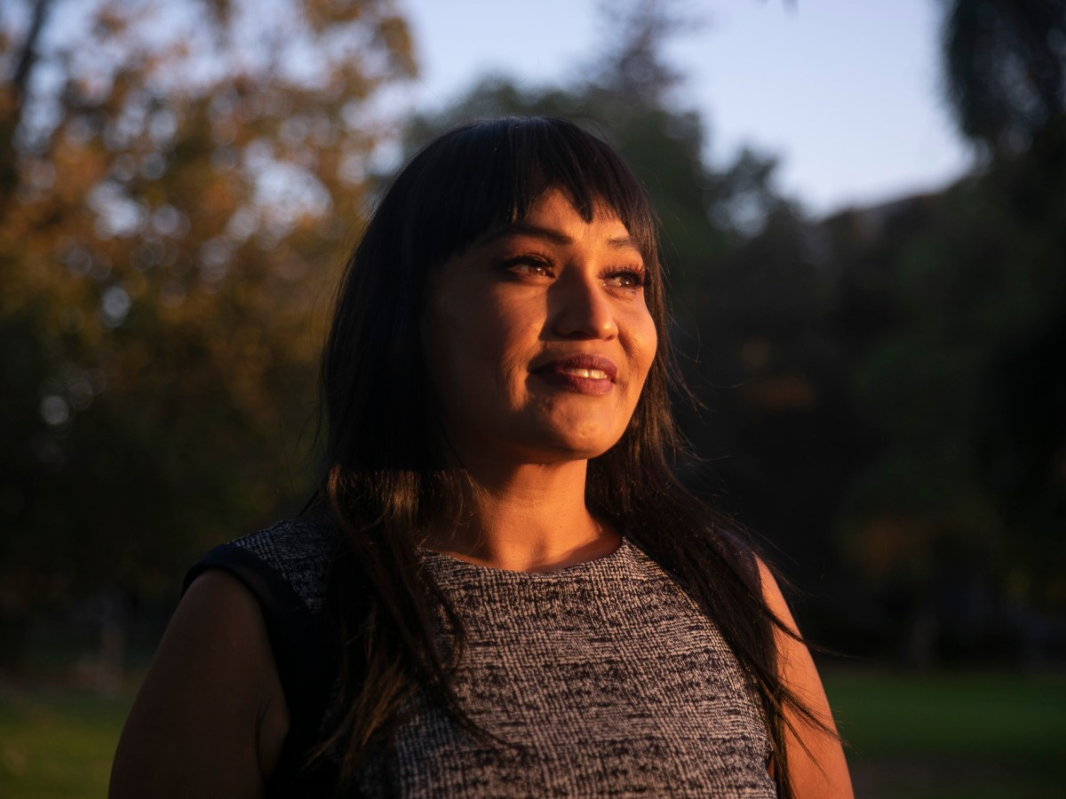 Nona Claypool, a third year student at UC Berkeley and transfer student coordinator, at Mosswood Park in Oakland on Oct. 28, 2020. Claypool, who focuses her work on recruiting Native American transfer students from community colleges, says tt is often the students who would benefit most from higher education who are unable to access it. Photo by Anne Wernikoff for CalMatters