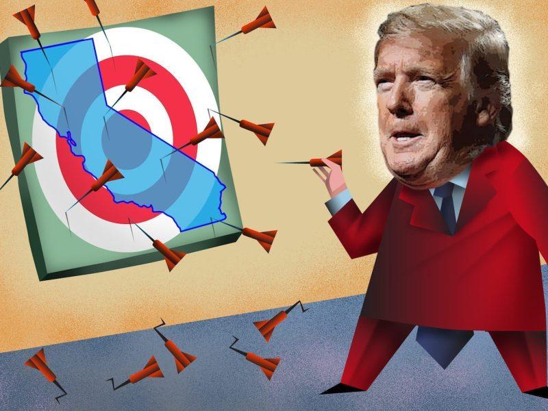 El presidente Donald Trump, en su candidatura a la reelección de 2020, a menudo parece estar haciendo campaña contra California, evocándolo como una distopía demócrata. Ilustración de Dan Hubig para CalMatters