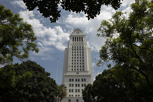 Los Angeles City Hall on August 7, 2019. Photo by Anne Wernikoff for CalMatters