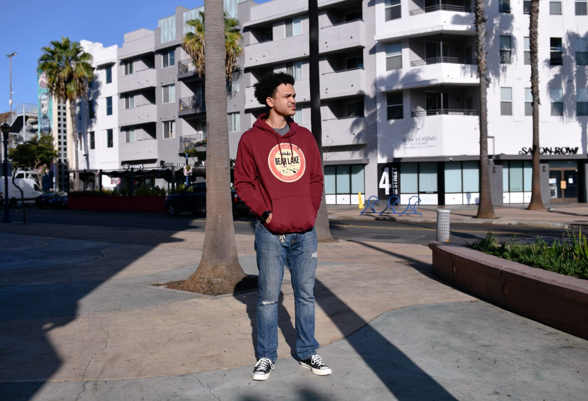 David Lewis, 29, left school at Long Beach City College after struggling to manage online classes with his job at Trader Joe's. Photo by Pablo Unzueta for CalMatters