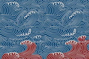 """A pattern of blue waves atop an undercurrent of red waves. As Californians chose their new representatives to Congress, the Democratic """"blue wave"""" of 2018 was followed by the red riptide of 2020/ Illustration by Anne Wernikoff for CalMatters; iStock"""