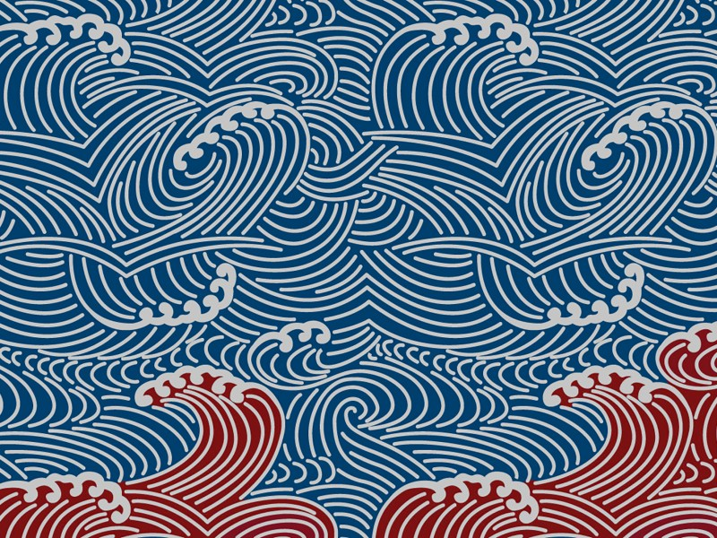 "A pattern of blue waves atop an undercurrent of red waves. As Californians chose their new representatives to Congress, the Democratic ""blue wave"" of 2018 was followed by the red riptide of 2020/ Illustration by Anne Wernikoff for CalMatters; iStock"