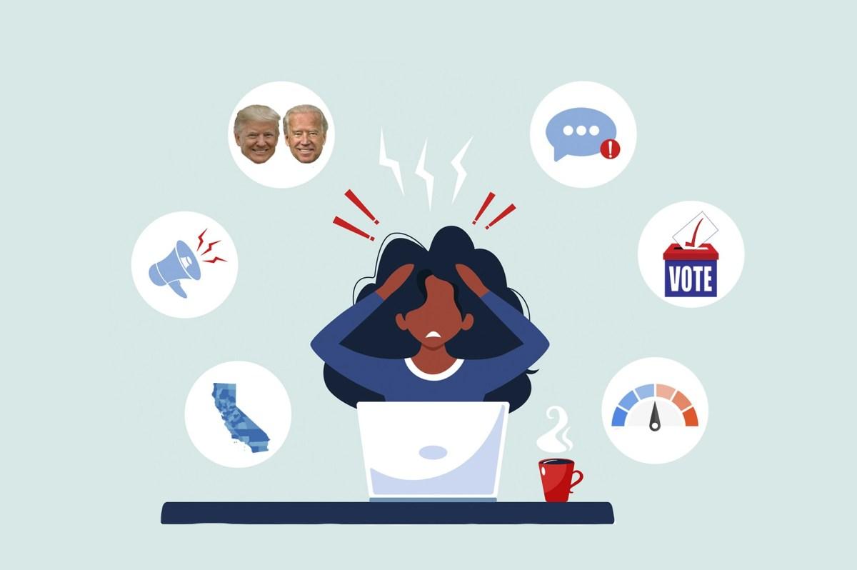 Los nervios están agotados, la ansiedad esta alta. Aquí hay una guía de supervivencia sobre cómo ver los resultados la noche de las elecciones en California. Ilustración de Anne Wernikoff para CalMatters; iStock