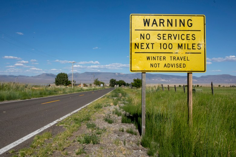 A sign on the eastern side of Cedarville warns drivers of the lack of service, July 8, 2020. Photo by Karl Mondon, Bay Area News Group