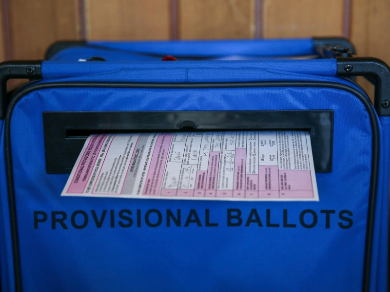 A provisional ballot filed by a voter who registered the same day as the California primary in Oakland on March 3, 2020. Photo by Dylan Bouscher, Bay Area News Group