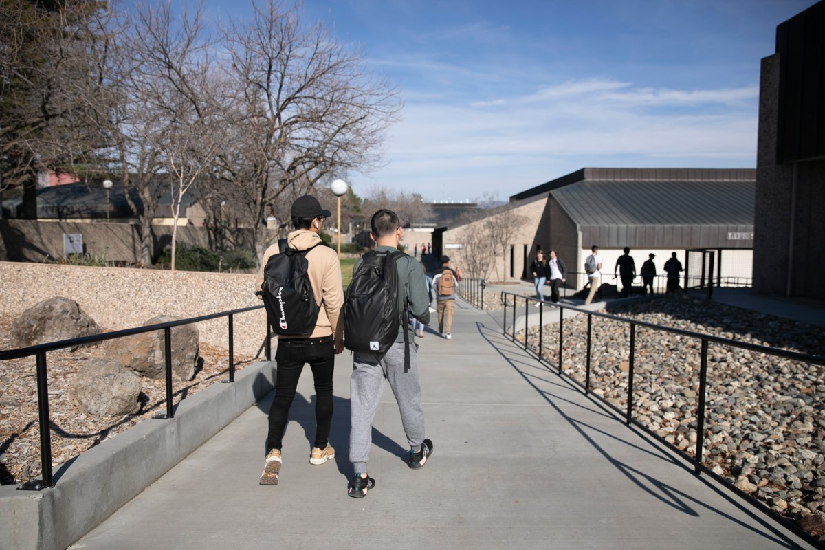 Butte College campus bustles between classes on February 12, 2020. Photo by Anne Wernikoff for CalMatters
