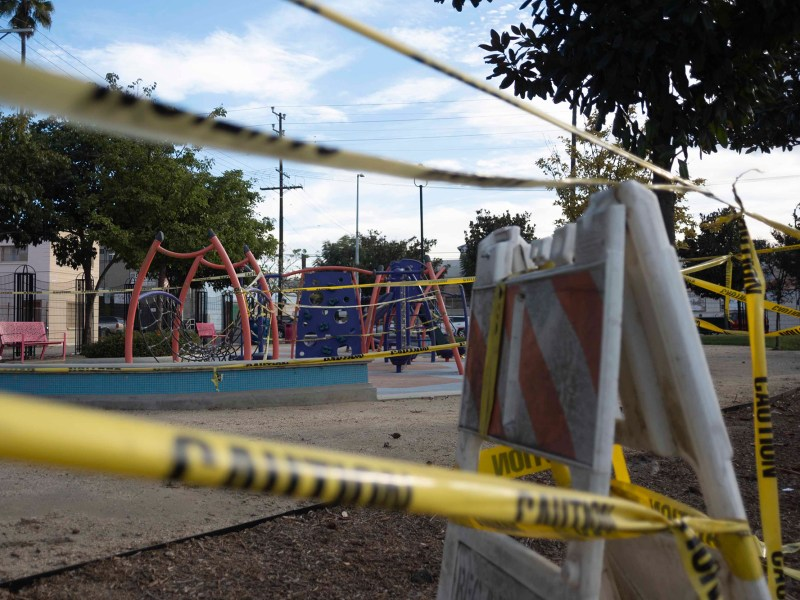 A cordoned off playground in South Central LA, on Dec. 8., 2020. Photo by Tash Kimmell for CalMatters.