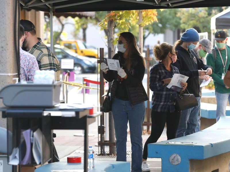 Voters wait to cast their ballots outside the Shasta County Elections Department on Election Day, Nov. 3, 2020. Photo by Mike Chapman, Redding Record Searchlight