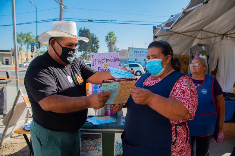 Organizers with the Coalition for Humane Immigrant Rights in Los Angeles recruited street vendors to pass out voter guides to customers for the 2020 presidential election. Photo courtesy of CHIRLA