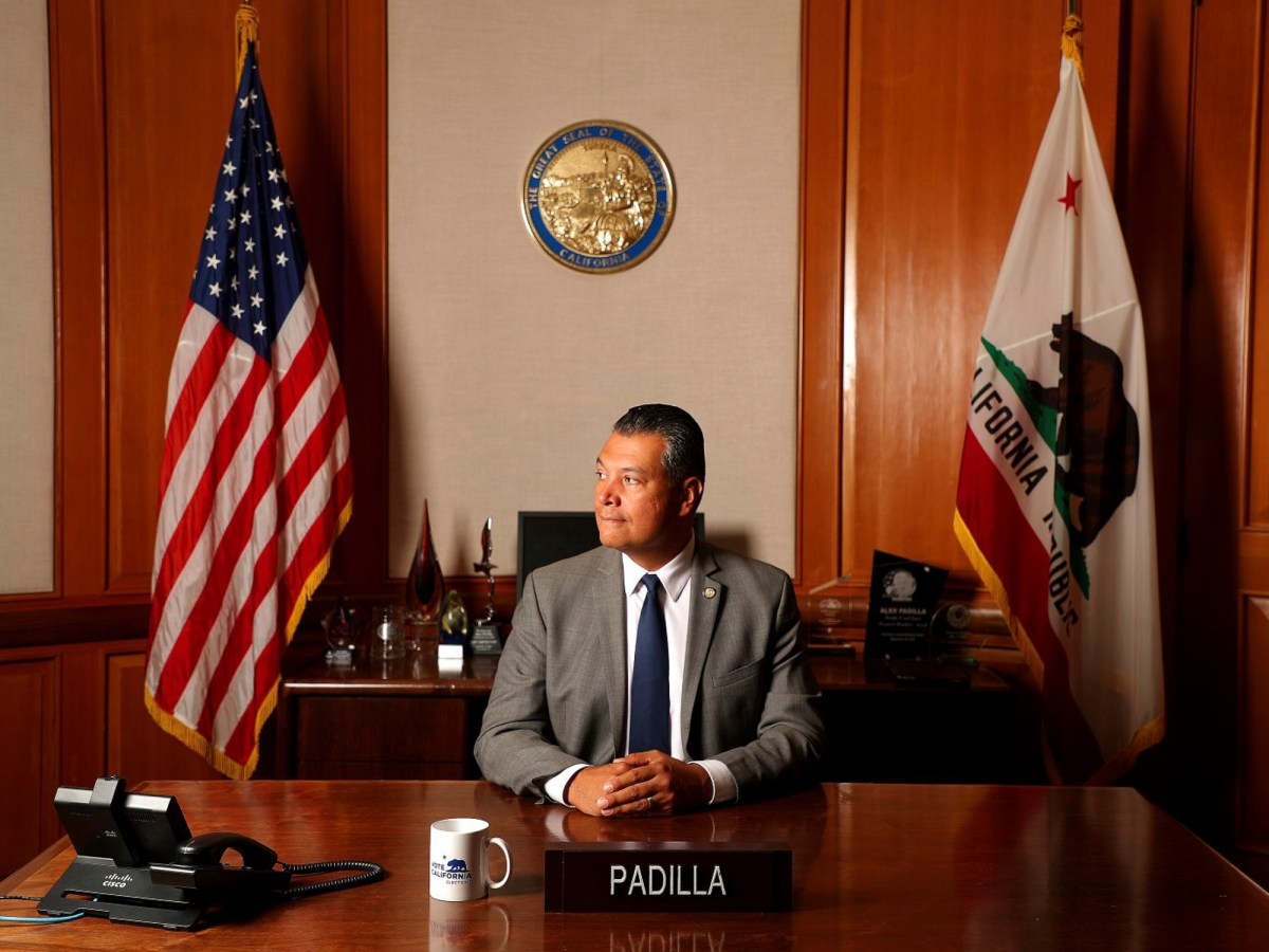 Alex Padilla photographed in his secretary of state's office in July. In an interview on the eve of being sworn in as California's newest U.S. senator, he talked about the challenges ahead. Photo by Aric Crabb, Bay Area News Group