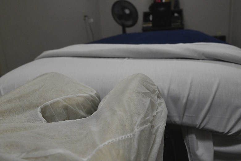 A massage table at John and Dee's practice. Photo by Ayrton Ostly, The Salinas Californian