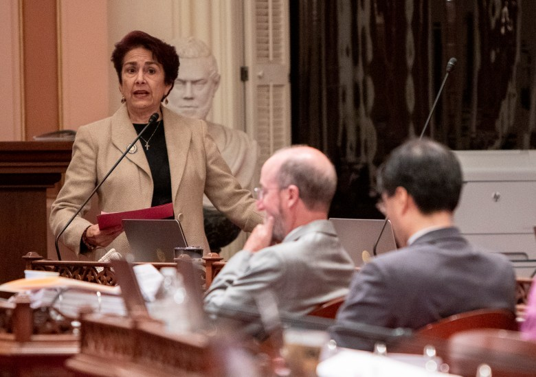 Sen. Anna Caballero speaks in favor of AB 5, a bill that would re-classify contract workers, during the floor debate on September 10, 2019. Photo by Anne Wernikoff for CalMatters
