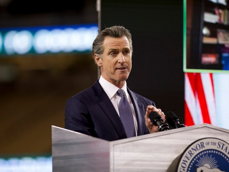 Gov. Gavin Newsom delivers the State of the State address at Dodger Stadium in Los Angeles on March 9, 2021. Photo by Shae Hammond for CalMatters